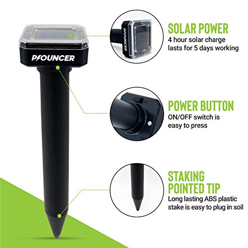 P-OUNCER Solar Mole Repellent (4 Pack): Ultrasonic Pest Repeller for Rats, Mice, Voles and Gophers, Waterproof Solar Powered Stakes for Garden and Yard, Outdoor Snake Deterrent, Humane Pest Control