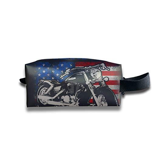 Bolsa de artículos de tocador de viaje para niños Insignia de precio estadounidense Alas Maquillaje de motocicleta Bolsa de cosméticos Bolsa de aseo cuadrada para mujeres de gran capacidad con cremal