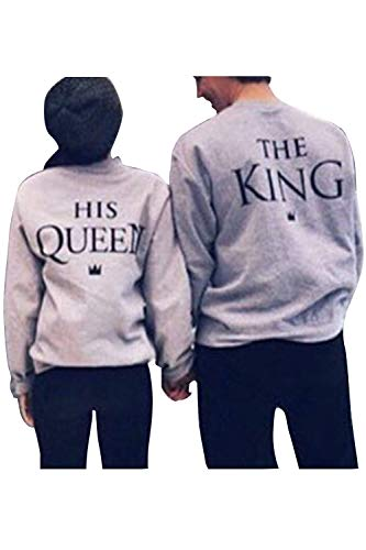 Pareja Sudadera A Juego Hombres Mujeres King Queen Pullover Pack Grey Women M/Men L