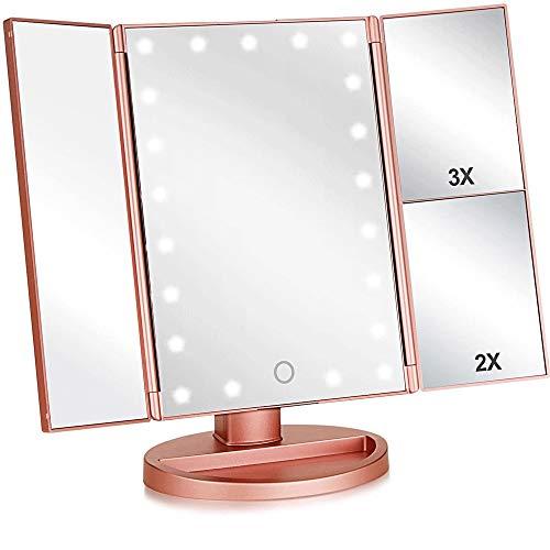 WXH-00 Espejo de Maquillaje Iluminado Tri-Fold con magnificación 3X / 2X, 21 Luces y Pantalla táctil 180 Grados de rotación libremente encimutoria de Cocina Espejo de Maquillaje Espejo de Maquillaje