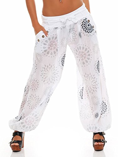 Malito Harem Pantalón con Veraniego Print Boyfriend Aladin Bombacho Sudadera Baggy Yoga 3481 Mujer Talla Única