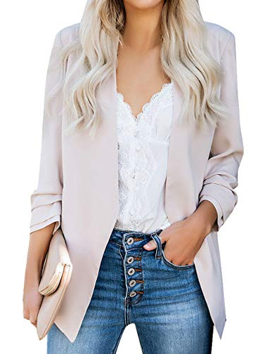 Utyful Women's Casual Notched Lapel Open Front Pocket Blazer Jacket Light Pink Size XX-Large