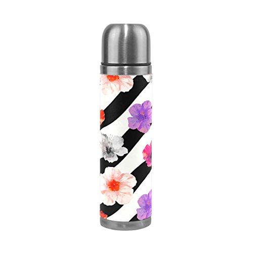 Ffy Go Travel Mug, imprimé floral personnalisé Thermos en acier inoxydable LeakProof Thermos isotherme extérieur Cuir pour filles garçons 500 ml