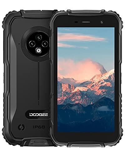 Outdoor Smartphone Ohne Vertrag, DOOGEE S35 4G Outdoor Handy Dual SIM, IP68 Wasserdichter, 13MP Triple Kamera, 4350Ah Akku, 5,0 Zoll, 2GB+16GB(256GB Erweiterbar) Android 10 Handy, Face ID - Schwarz
