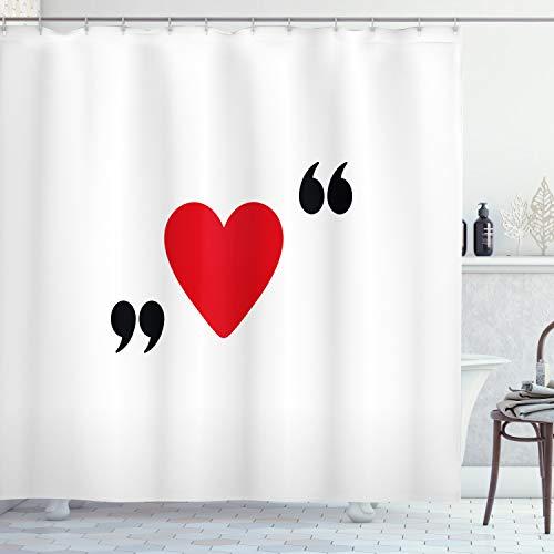 cortinas baño roja corazones