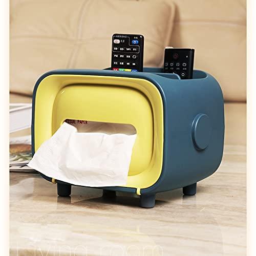 Boîte D'essuie-mains De Papier Multifonctions De Bureau De Bureau Simple Plastique Creative Storage Papier Box Cute Girl Jute Girl (Color : Yellow blue)