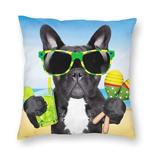 GOSMAO Fundas para Cojines Bulldog francés de Vacaciones Funda de cojín con impresión clásica Fundas de Almohada Decorativas para Regalos sofá decoración 45 * 45cm