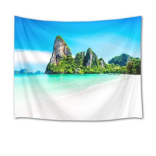 LB Landschaft tropischer Blauer Himmel Insel Türkis Wandteppich hängende Tapisserie Picknick Strand Blatt Tischtuch Wohnaccessoire 200 Breite x 150 Höhe cm