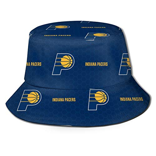 Indiana Logo Pacers Unisex Women Men Fisherman Hat Wide Brim Bucket Cap Sun UV Protection for Travel Sports Fishing Black