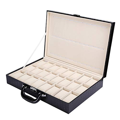 24 Slot Watch Storage Box, PU Leather Large Space Watch Display Box Case Clamshell Watch Organizer, Watch Gift Box