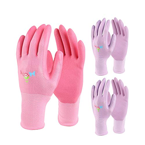 Gardening Gloves for Women (3 Pairs Pack) Ultra-Premium & Breathable to Keep Hands Dry - Textured Grip to Reduce Slipping Garden & Work Gloves(Medium)