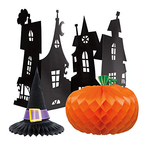 Unique Halloween Centerpiece Bundle | Honeycomb Haunted House, Witch Hat & Pumpkin | Table Décor Fall Parties Events