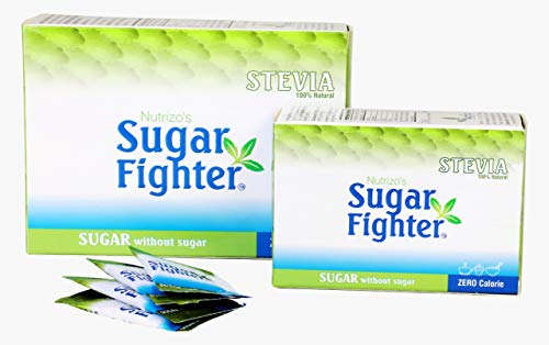Sugar Fighter Stevia Sachets Box – Zero Calories & Fat Free Sweetener – Natural Stevia – Sugar-Free Combo – 40 Sachets (Pack of 3)