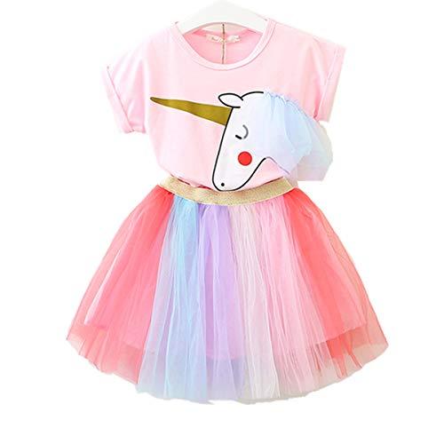Lee Little Angel Pequeña niña Unicornio Casual Encaje Vestido Suave Camiseta Arcoiris Falda (3-4 años de Edad, Rosa)