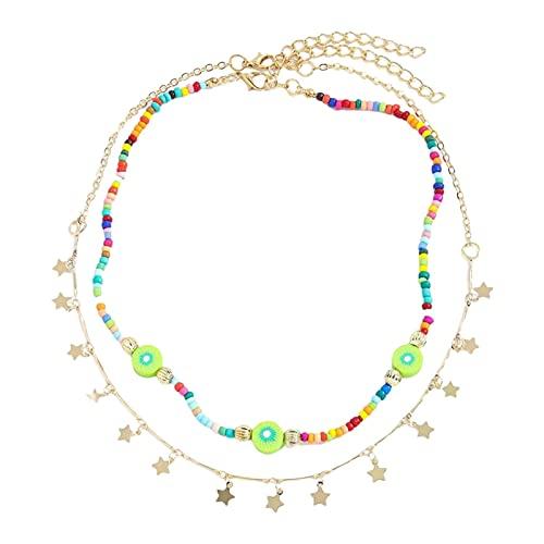 N/A/A Collar de perlas para mujer, multicolor, bohemio, flores, collar historia, collar de perlas multicolor