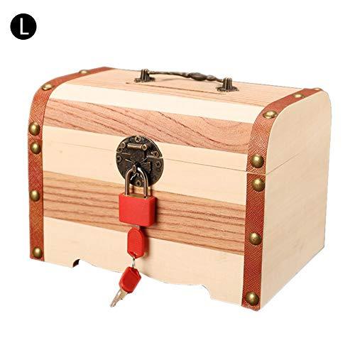 QUUY houten schatkist, grote retro piraten schatkist opbergdoos met aluminium slot en handvat, multifunctionele fijne creatieve houten kist voor sieraden, geld, documenten