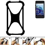 K-S-Trade® Handyhülle Für Archos Access 45 4G Schutz Hülle Silikon Bumper Cover Case Silikoncase TPU Softcase Schutzhülle Smartphone Stoßschutz, Schwarz (1x),