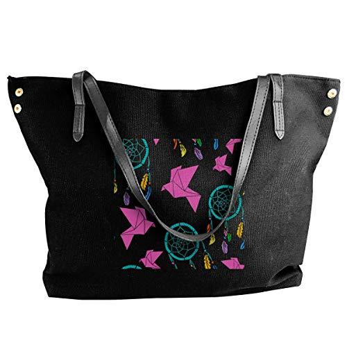 tiao9143 Bolso de lona Women's Canvas Large Tote Shoulder Handbag Origami And Dream Catchers Messenger Bags Classic purse shopping Sling Bag