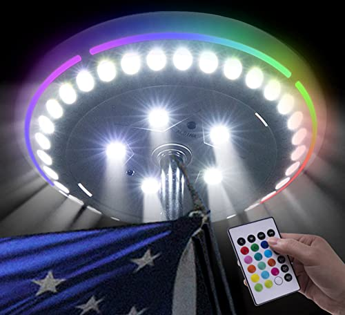 ALBINA Solar Flag Pole Light, 180 LED and 16 Colors, 33Feet Remote Control, Super Bright Flag Pole Lights with 1000LM, Solar Colorful Flagpole Lights, IP66 Waterproof for House, Yard, Outdoor, Outside