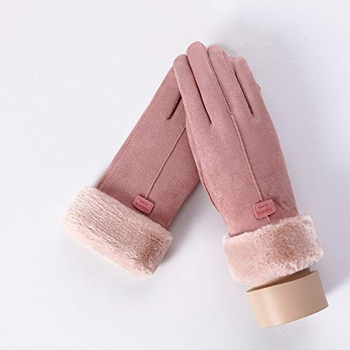 MYSdd Winter Frauen Doppel Dicke Plüsch Handgelenk warme süße Reithandschuhe Damen Wildleder Leder Touchscreen Fahrhandschuhe - C Pink