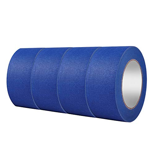 """4 Pack 2"""" x 60 yd Blue Painter�s Tape, Easy - Tear, Pro - Grade Removable Masking Tape for Basic Painting, 4 Rolls, 240 Total Yards"""