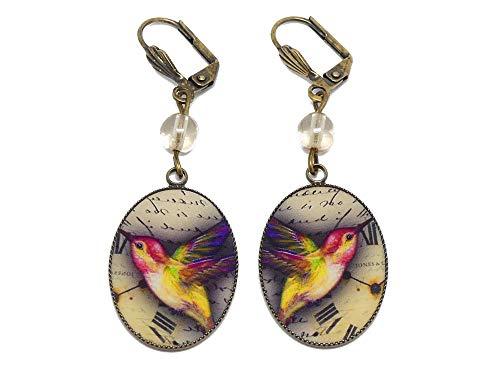Retro-Ohrringe Harz Vogel Kolibri gelbe Uhr rot Messing Bronzeperlen personalisierte Geschenke Weihnachts Zeremonie Hochzeit Jahrestag Gäste Herrin Festpaar