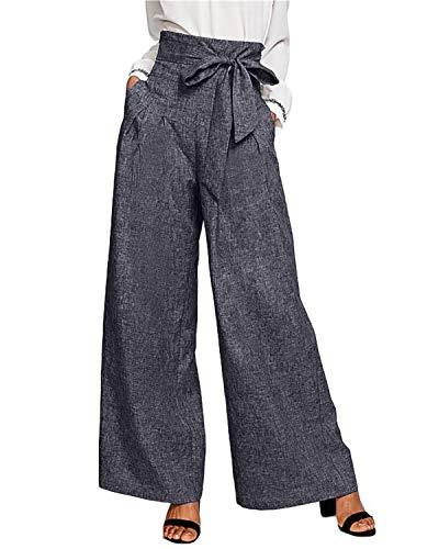 CNFIO - Pantaloni ampi lunghi da donna, estivi, con elastico e vita alta con cintura, ampie tasche, stile casual C-blu M