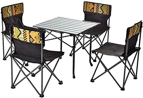 FGDFGDG Mesa y Silla Plegables portátiles, mesas de Camping Que plegan livianas con 4 taburetes Plegables, Mesa de Comedor de Mesa de Camping al Aire Libre para Barbacoa o Fiesta de Picnic