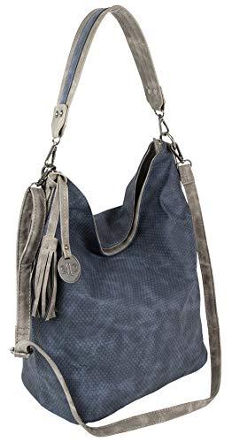 Jennifer Jones Große Schultertasche Eleganter Shopper auch als Crossover Umhängetasche tragbar (Blau)