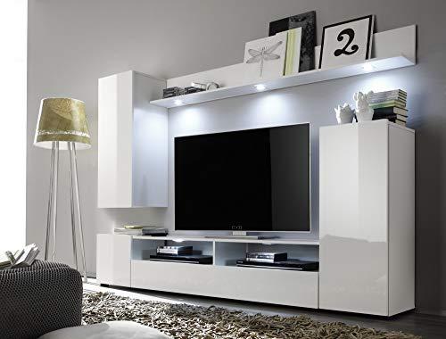 Newfurn Wohnwand Anbauwand Modern Wohnzimmerschrank Wohnlandschaft Mediawand Fernsehschrank II 208x165x 33 cm (BxHxT) II [Anda.None] in Weiß/Weiß Hochglanz Wohnzimmer