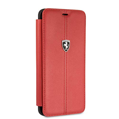 Ferrari Wallet Case for Samsung Galaxy S9 Plus Hard Case Genuine Leather Red with Business Card Holder/Debit or Credit Card Slots Easy Snap-on Shock Absorption Cover Officially Licensed.