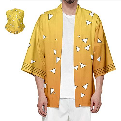 Anime Role Cloak Kamado Tanjirou Tomioka Giyuu Robes Costume Cosplay Cardigan Jacket with Anime Face Mask (4XL, Agatsuma Zenitsu)