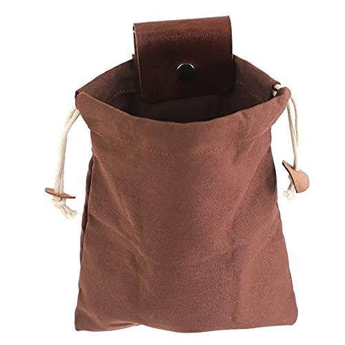 Hjinyu Canvas Bushcraft Tasche Foldable Leather Canvas Sammeln Frucht Tasche Bushcraft Bag Lederbezug Schnalle Faltbare Hochleistungs Werkzeugtasche für Outdoor Camping Picknick Garten (Braun)