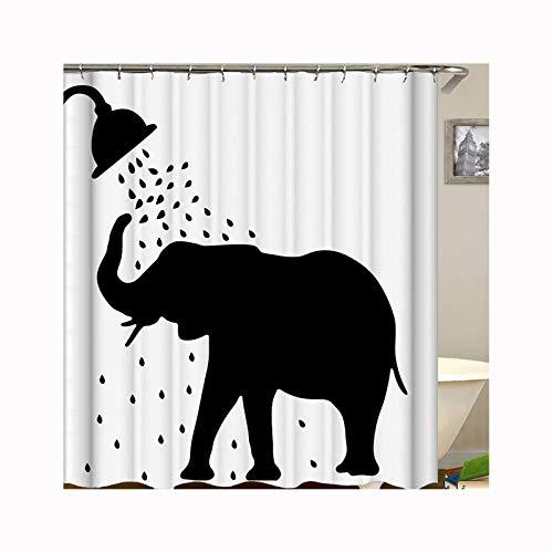 DOLOVE Polyester Duschvorhang Antischimmel Badvorhang Vintage Elefant Duschen Bad Vorhang Antibakterieller Duschvorhang 150X180 cm