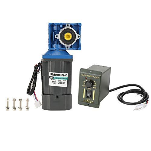 Conjunto de motor de reducción AC220V, motor de engranaje de reducción de velocidad de gusano 90W 1400rpm, motor de reducción de velocidad de motor de alto torque de 8 polos CW CCW con regulador(7.5K)