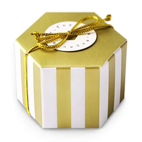 Constance goed uitziende gouden geschenkdoos zeshoek bruiloft chocolade suiker snoep doos bakken pakket bruiloft partij gift lege doos H02