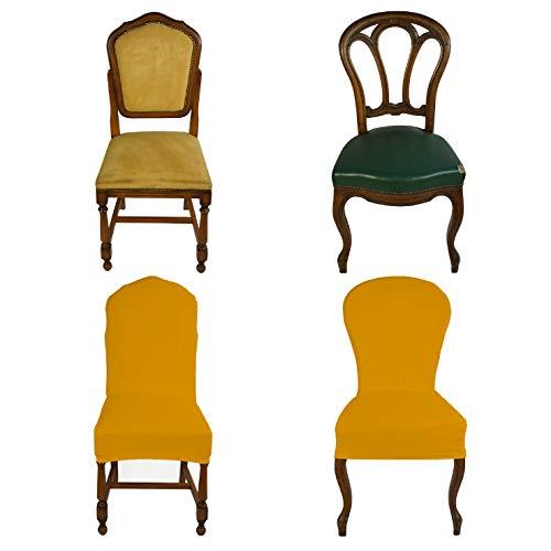 Banzaii Housse de Chaise Extensible avec Dossier Rond – Couverture de Chaises de Bureau, Cuisine, Salle à Manger, Chambre, Hôtel ou Restaurant - 6 pièces Made in Italy Or