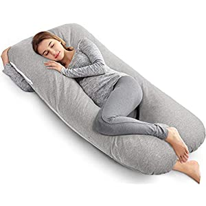 AngQi Full Body Pregnancy Pillow – U Shape – Maternity Pillow for Side Sleeping – with Double Zipper Removable Pillowcase