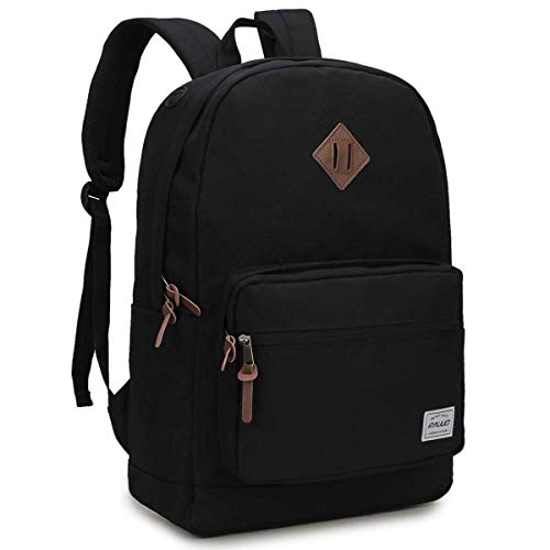 School Backpack,RAVUO Water Resistant Black Backpack for Men and Women Casual Travel Rucksack College School Bags Fits 15.6 Inch Laptop