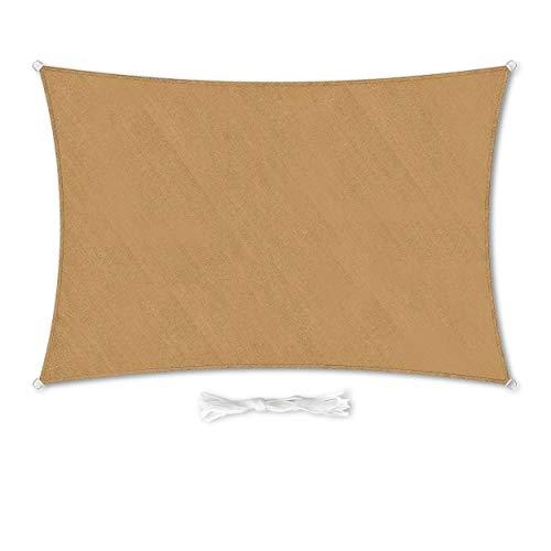 Hometex Premium Textiles - Toldo rectangular (2 × 4 m, incluye fijaciones | arena | protección solar ideal para jardín, terraza, balcón, camping, dispensador de sombra cortavientos