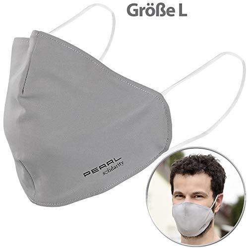 PEARL Nano Filter Maske: Mund-Nasen-Stoffmaske mit Nanofilter, 98,9%, waschbar, Größe L (Mundschutz Größe l)
