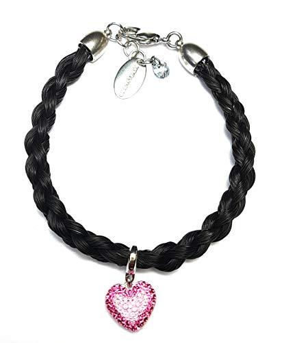 Schwarzes Pferdehaar Armband mit Swarovski Herz in rose//Länge 17.5 cm Durchmesser 0,5cm