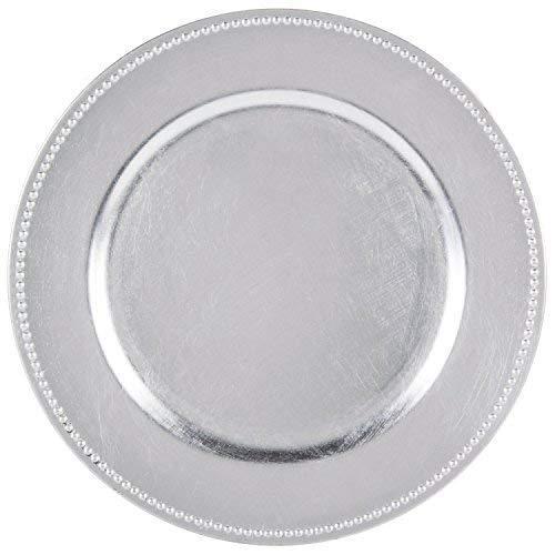 Tiger Chef Runde Platzteller, silberne Perlen, 33 cm, Hochzeits-Platzteller, 24 Stück