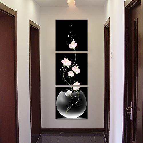 OFVV Sin Marco florero con Flores Pared Arte Lona Material Porche Corredor Frameless Home Decor Pared Pintura 3PCS,b,50 * 50cm*3