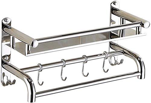 MYPNB Estante de baño toallero de Acero Inoxidable for los estantes del Cuarto de baño de Acero Inoxidable Barra de la Ducha con Ganchos 25/30/35/40/45/50/55/60 cm (Size : 25cm)