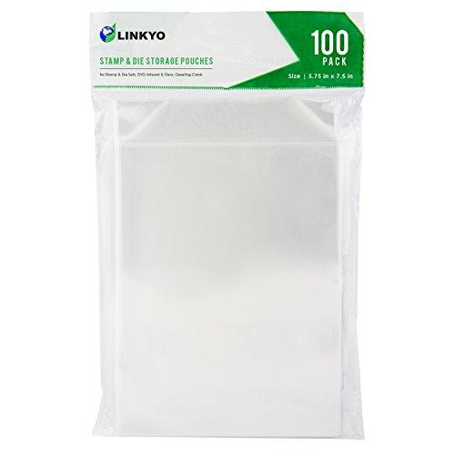 LINKYO 스탬프 및 다이 스토리지 포켓 100 개 세트 5.75 인치 7.5 인치