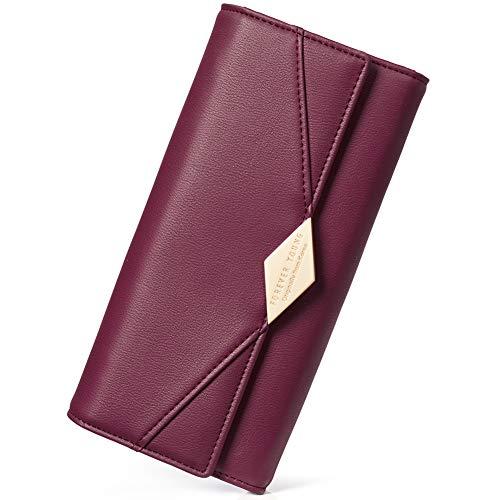 CLUCI Damen Geldbörse Weich Leder viele Kartenfächer Lang Portemonnaie Clutch Geldbeutel für Frauen mit Münzfach, 16-wein Rot, Large
