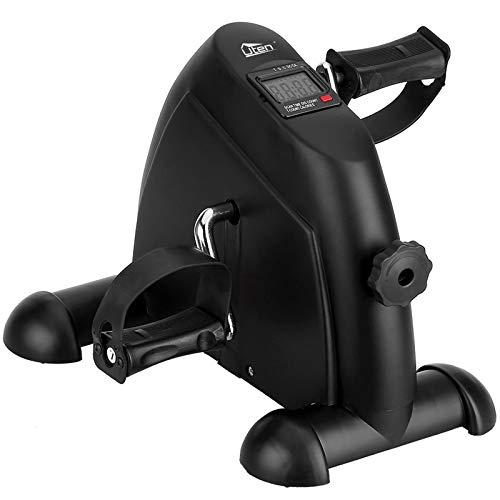 Uten Mini Pedal de Ejercicio Estaticos para Bicicleta de Ejercicio para Brazos y Piernas con Pantalla LCD y Resistencia Ajustable, Ciclo de Resistencia en Interiores (Negro) ⭐