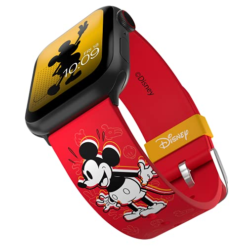 Disney – Mickey Mouse Vintage Icon Smartwatch Strap - Officially Licensed, Compatible with Apple Watch (not Included) - Fits 38mm, 40mm, 42mm and 44mm