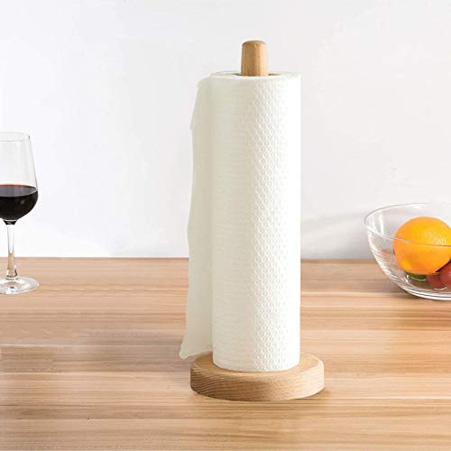Yistao Wood Paper Towel Holder, Wooden Paper Towel Holder Countertop Standing Paper Towel Organizer Roll Dispenser for Kitchen Countertop & Dining Table